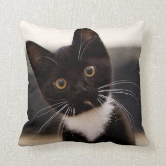 Cute Black And White Tuxedo Kitten Throw Pillow