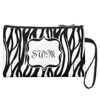 Cute Black and White Zebra Monogram Bag Wristlet Purses