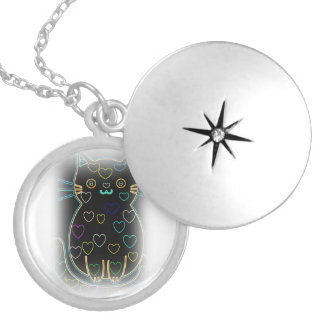 cute black art kitty with hearts locket necklace