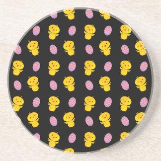 Cute black baby chick easter pattern beverage coasters