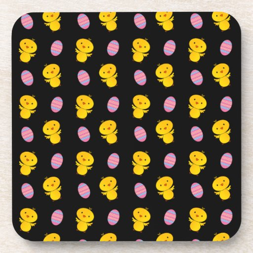 Cute black baby chick easter pattern beverage coaster