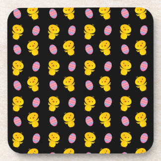 Cute black baby chick easter pattern drink coaster