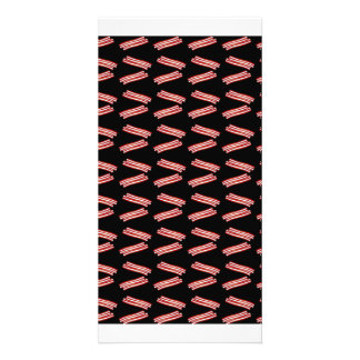 Cute black bacon pattern photo greeting card