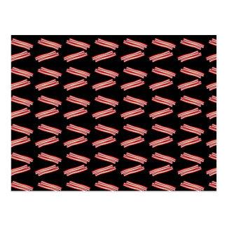 Cute black bacon pattern postcard