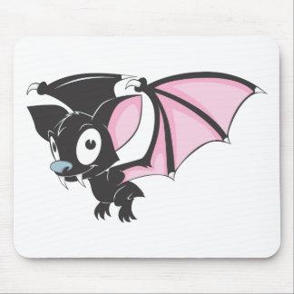 Cute Black Bat Vampire Cartoon Shirt Mouse Pads