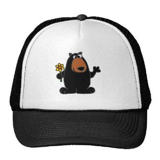 Cute Black Bear with Daffodil Cartoon Mesh Hat