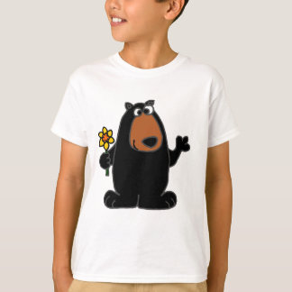 Cute Black Bear with Daffodil Cartoon T-Shirt