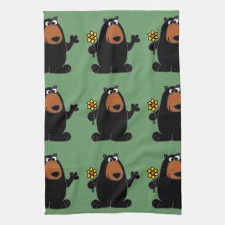 Cute Black Bear with Daffodil Cartoon Tea Towel