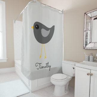 Cute black bird shower curtain