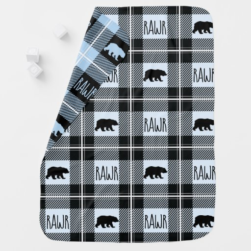 Cute Black Blue & White Bear and Rawr Flannel Baby Blanket