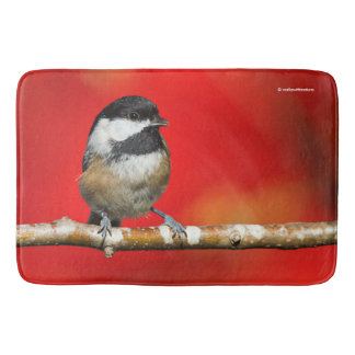 Cute Black-Capped Chickadee with Red Autumn Leaves Bath Mat