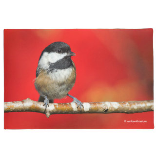 Cute Black-Capped Chickadee with Red Autumn Leaves Doormat