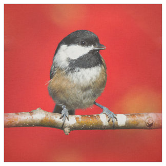 Cute Black-Capped Chickadee with Red Autumn Leaves Fabric