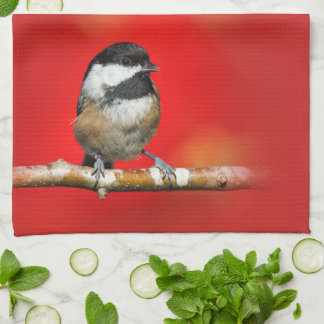 Cute Black-Capped Chickadee with Red Autumn Leaves Tea Towel