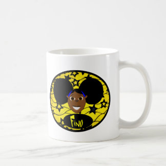 Cute Black Cartoon Girl Fino Coffee Mug