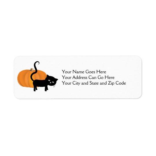 Cute black cat and pumpkin address sticker