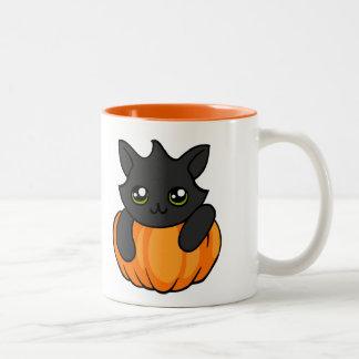 Cute Black Cat and Pumpkin Drawing Halloween Mug