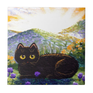 Cute Black Cat Art Flowers Creationarts Small Square Tile