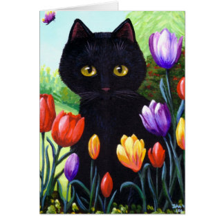 Cute Black Cat Art Tulips Flowers Creationarts Card