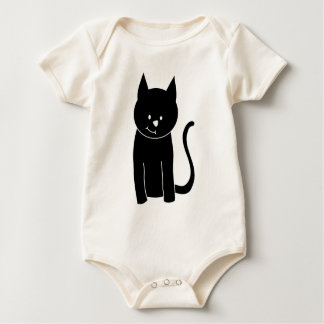 Cute Black Cat Baby Bodysuit
