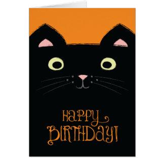 Cute Black Cat Birthday Card