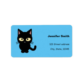 Cute black cat cartoon address label
