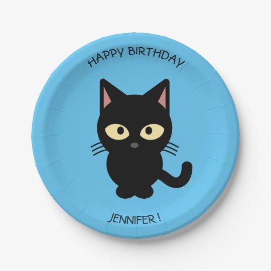 Cute black cat cartoon blue birthday kids name