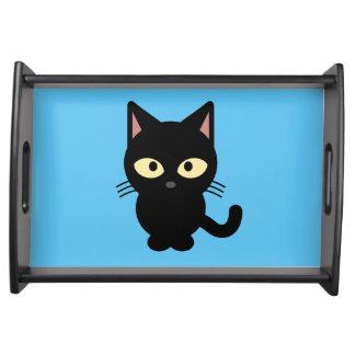 Cute black cat cartoon serving tray