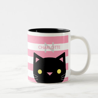 Cute Black Cat Custom Name & Initial Two-Tone Coffee Mug