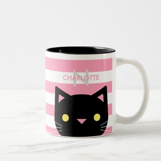 Cute Black Cat Custom Name & Initial Two-Tone