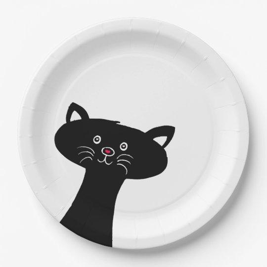 Cute Black Cat Custom Paper Plates