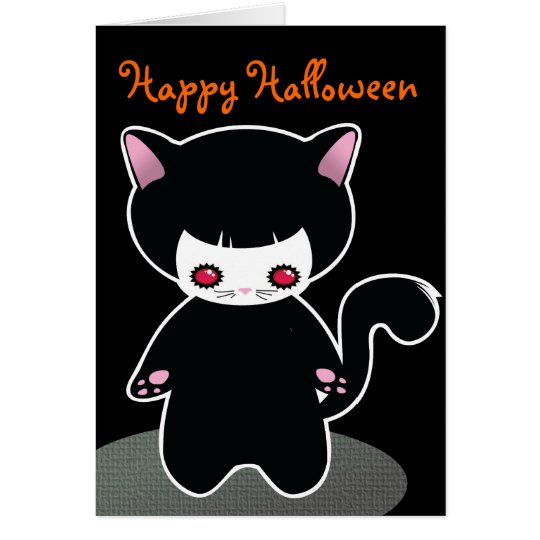 Cute Black Cat Halloween Card for kids