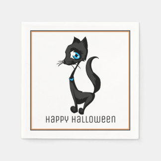 Cute Black Cat Halloween Paper Napkins