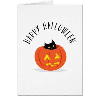 Cute Black Cat in Jack O Lantern Happy Halloween Card