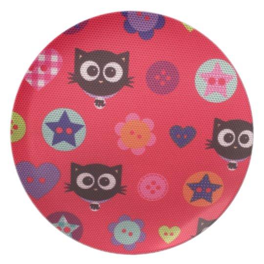 Cute black cat Melamine Plate