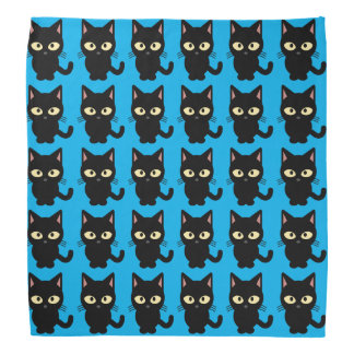 Cute black cat meow cartoon blue bandana