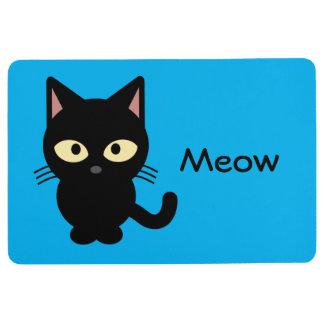 Cute black cat meow cartoon blue floor mat
