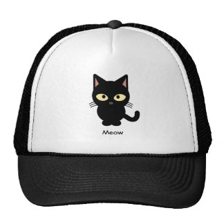 Cute black cat meow cartoon cap