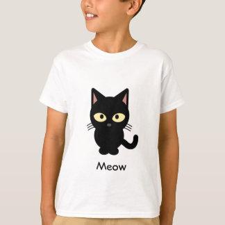 Cute black cat meow cartoon kids T-Shirt