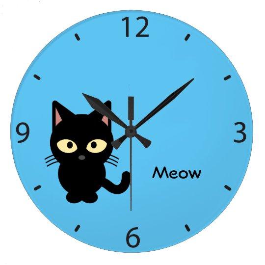 Cute black cat meow cartoon large clock