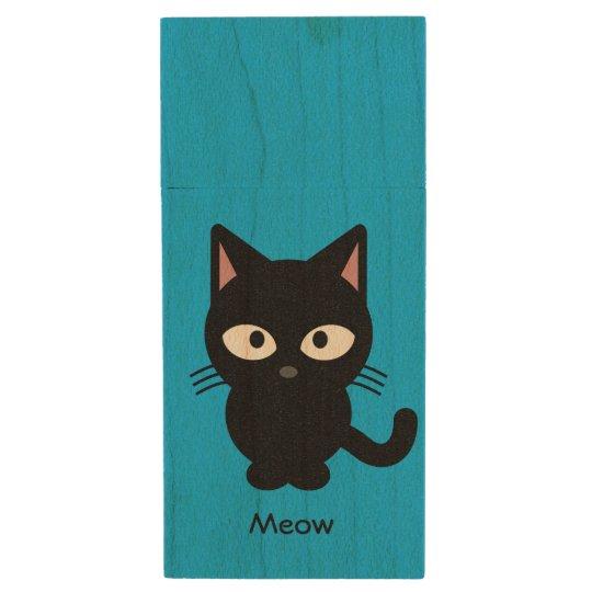 Cute black cat meow cartoon wood USB flash