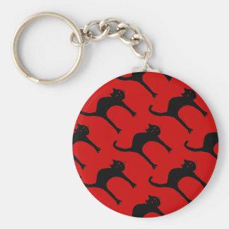 cute black cat pattern basic round button key ring