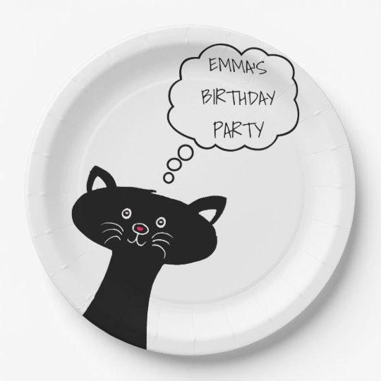 Cute Black Cat - Personalised Paper Plates