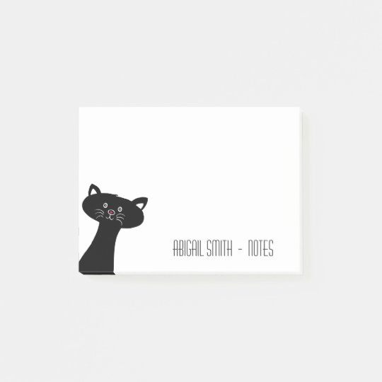 Cute Black Cat Personalised Post-it® Notes 4 x 3