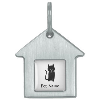 Cute Black Cat. Pet ID Tag