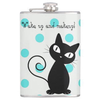 Cute Black Cat,Polka Dots-Wake up and makeup! Flask
