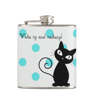 Cute Black Cat,Polka Dots-Wake up and makeup! Flasks