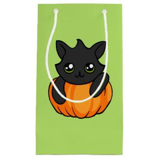 Cute Black Cat Pumpkin Drawing Halloween Gift Bag