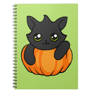Cute Black Cat Pumpkin Drawing Halloween Notebook