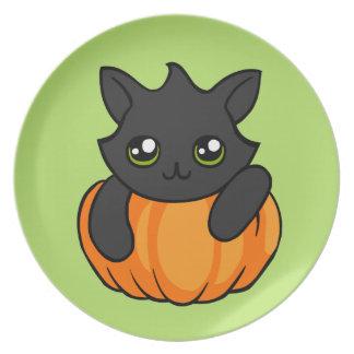 Cute Black Cat Pumpkin Drawing Halloween Plate